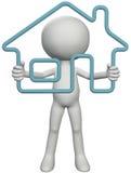 Persona del propietario casero que soporta la casa del esquema 3D Imágenes de archivo libres de regalías