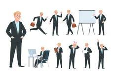 Persona di affari Carattere dell'uomo d'affari, lavoratore professionista nell'attività economica differente dell'ufficio Fumetto illustrazione vettoriale
