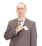 Persona di affari che mostra biglietto da visita Immagine Stock Libera da Diritti
