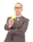 Persona di affari che mostra nota smontabile Fotografia Stock