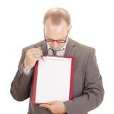 Persona di affari con i appunti Fotografia Stock Libera da Diritti