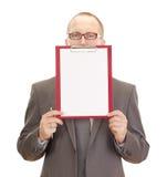 Persona di affari con i appunti Fotografie Stock Libere da Diritti