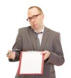 Persona di affari con i appunti Fotografie Stock
