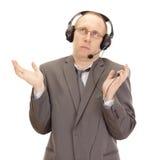 Persona di affari con l'insieme della testa Fotografie Stock Libere da Diritti