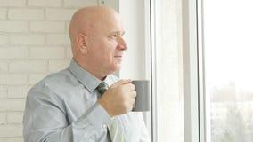 Persona di affari Image nella stanza dell'ufficio che beve una tazza con tè immagini stock