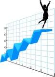 Persona di affari in su sul diagramma di successo di sviluppo dell'azienda Fotografia Stock
