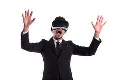 Persona di sesso maschile in vetri di realtà virtuale e del vestito Fotografia Stock Libera da Diritti