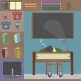 Persona durmiente en la oficina libre illustration
