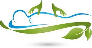 Persona e due mani, massaggio e logo naturopatico illustrazione vettoriale