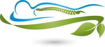 Persona e foglie, pianta, massaggio e logo ortopedico illustrazione di stock