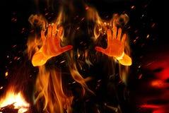 Persona en el fuego Foto de archivo libre de regalías