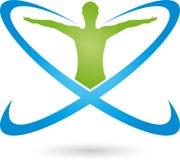 Persona en el movimiento y los círculos, logotipo coloreados, de la aptitud y de la salud ilustración del vector