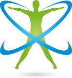 Persona en el movimiento y los círculos, logotipo coloreados, de la aptitud y de la salud Fotos de archivo libres de regalías