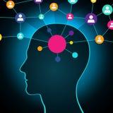 Persona en una red social, comunicación, contactos, negocio red global en la cabeza Diseño plano, iconos ilustración del vector