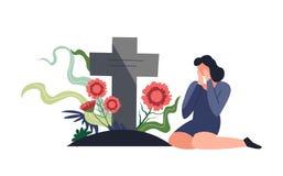 Persona funerea di cerimonia di sepoltura che si siede la pietra tombale e gridando royalty illustrazione gratis