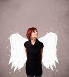 Persona linda con las alas ilustradas ángel Fotos de archivo