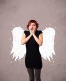 Persona linda con las alas ilustradas ángel Fotografía de archivo libre de regalías