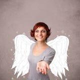 Persona linda con las alas ilustradas ángel Imagen de archivo libre de regalías