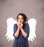 Persona linda con las alas ilustradas ángel Fotografía de archivo