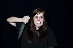 Persona loca con el cuchillo Fotos de archivo