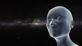 Persona mayor sonriente que mira para arriba a las estrellas con la galaxia de la vía láctea en el ejemplo del fondo 3d ilustración del vector