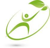Persona nel moto e nel logo delle foglie, di forma fisica e di salute Fotografia Stock Libera da Diritti