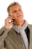 Persona profesional ocupada en llamada de teléfono Foto de archivo