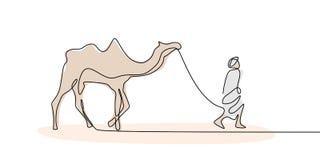Persona que camina con el camello en diseño mínimo continuo del dibujo lineal del postre uno ilustración del vector