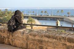 Persona que comtempla un parque que hace frente al mar foto de archivo libre de regalías
