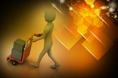 Persona que empuja la carretilla de la mano con la caja llena de sobres ilustración del vector