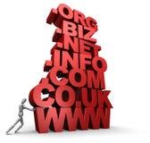Persona que empuja la pila de palabras del dominio del Web site 3D imágenes de archivo libres de regalías