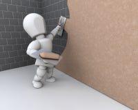 Persona que enyesa una pared Imagen de archivo