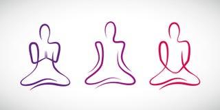 Persona que hace yoga en el dibujo lineal de diversas posiciones ilustración del vector