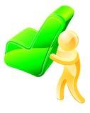 Persona que lleva a cabo la señal verde Fotografía de archivo