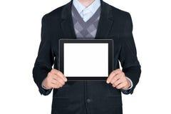 Persona que muestra la tableta digital en blanco fotografía de archivo libre de regalías