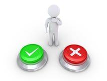 Persona que piensa el botón correcto para empujar Imágenes de archivo libres de regalías