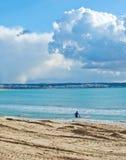 Persona que practica surf con el tablero rosado en la playa del invierno Imágenes de archivo libres de regalías