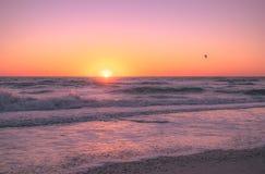 Persona que practica surf de la cometa en la puesta del sol Fotografía de archivo libre de regalías