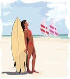 Persona que practica surf de la muchacha Stock de ilustración