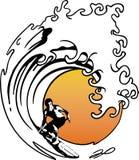 Persona que practica surf de la onda Imágenes de archivo libres de regalías