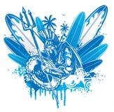 Persona que practica surf de Poseidon ilustración del vector