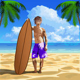 Persona que practica surf de sexo masculino stock de ilustración