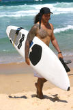 Persona que practica surf de Tatoo Imagen de archivo
