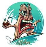 Persona que practica surf de Tiki en onda con un cóctel exótico a disposición stock de ilustración