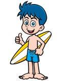 Persona que practica surf del muchacho Fotografía de archivo libre de regalías