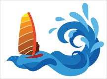 Persona que practica surf en el mar Vector abstracto en el fondo blanco Stock de ilustración