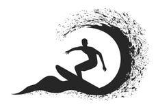 Persona que practica surf en el movimiento en la ola oceánica Imagen de archivo libre de regalías