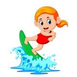 Persona que practica surf en el océano azul stock de ilustración