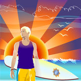 Persona que practica surf en fondo de la puesta del sol Fotos de archivo libres de regalías