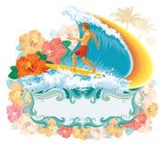 Persona que practica surf en la onda fotografía de archivo libre de regalías